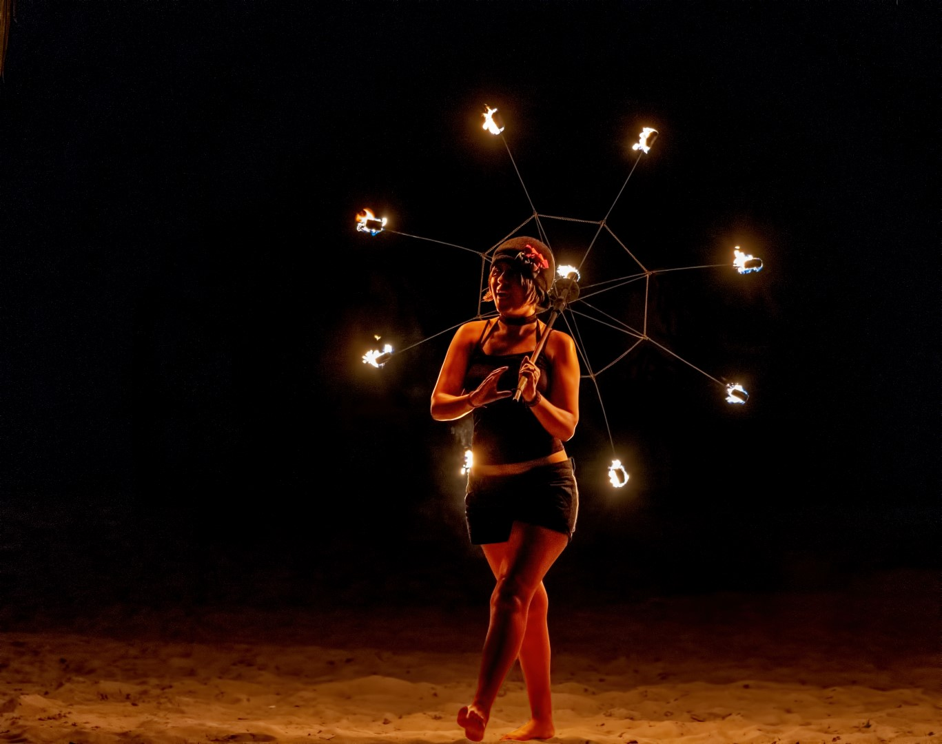 Parapluie de feu , spectacle, nocturne,